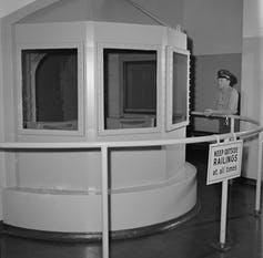 """<span class=""""caption"""">A gas chamber at San Quentin prison from 1959.</span> <span class=""""attribution""""><a class=""""link rapid-noclick-resp"""" href=""""https://newsroom.ap.org/detail/SanQuentinGasChamber1959/cff0724541f6411f9381056ce9b9a5c4/photo?Query=gas%20chamber%20prison&mediaType=photo&sortBy=arrivaldatetime:desc&dateRange=Anytime&totalCount=51&currentItemNo=48"""" rel=""""nofollow noopener"""" target=""""_blank"""" data-ylk=""""slk:AP Photo/Clarence Hamm"""">AP Photo/Clarence Hamm</a></span>"""