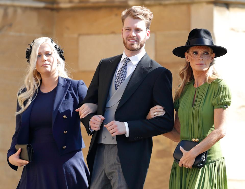WINDSOR, UNITED KINGDOM - MAY 19: (EMBARGOED FOR PUBLICATION IN UK NEWSPAPERS UNTIL 24 HOURS AFTER CREATE DATE AND TIME) Lady Eliza Spencer, Louis Spencer, Viscount Althorp and Victoria Aitken attend the wedding of Prince Harry to Ms Meghan Markle at St George's Chapel, Windsor Castle on May 19, 2018 in Windsor, England. Prince Henry Charles Albert David of Wales marries Ms. Meghan Markle in a service at St George's Chapel inside the grounds of Windsor Castle. Among the guests were 2200 members of the public, the royal family and Ms. Markle's Mother Doria Ragland. (Photo by Max Mumby/Indigo/Getty Images)
