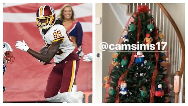 Thanks to some consistent reporting by Daron Payne, the public has been able to see that Cam Sims still has his Christmas tree up. Why? Well, the receiver explains himself here.