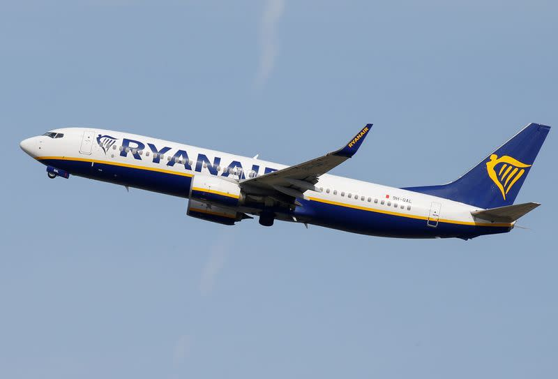 FILE PHOTO: A Ryanair aircraft takes off at the aircraft builder's headquarters of Airbus in Colomiers near Toulouse