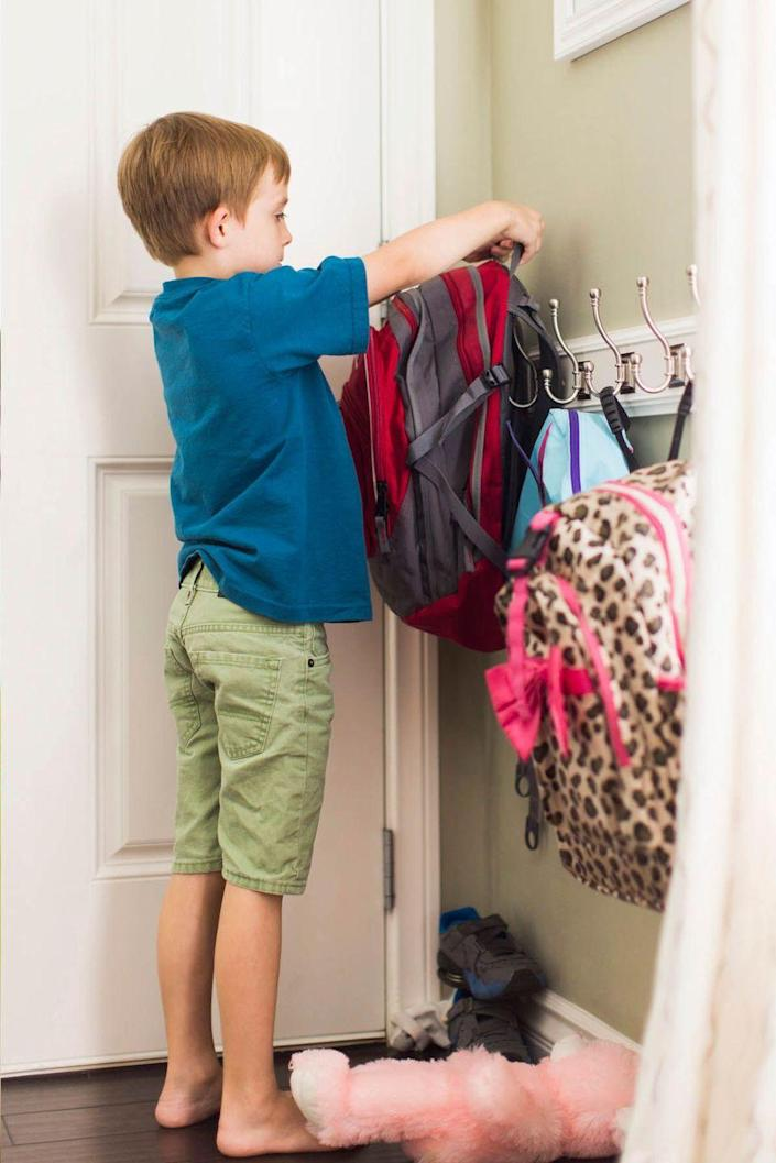"""<p>Avoid forgetting things during the morning rush by telling your child to pack their <a href=""""https://www.womansday.com/life/g3120/back-to-school-backpacks/"""" rel=""""nofollow noopener"""" target=""""_blank"""" data-ylk=""""slk:sports bags and backpacks"""" class=""""link rapid-noclick-resp"""">sports bags and backpacks</a> before bedtime. </p><p> <br><br><br><br><br>Want more Woman's Day? <a href=""""https://subscribe.hearstmags.com/subscribe/womansday/253396?source=wdy_edit_article"""" rel=""""nofollow noopener"""" target=""""_blank"""" data-ylk=""""slk:Subscribe to Woman's Day"""" class=""""link rapid-noclick-resp"""">Subscribe to Woman's Day</a> today and get <strong>73% off your first 12 issues</strong>. And while you're at it, <a href=""""https://link.womansday.com/join/3o9/wdy-newsletter"""" rel=""""nofollow noopener"""" target=""""_blank"""" data-ylk=""""slk:sign up for our FREE newsletter"""" class=""""link rapid-noclick-resp"""">sign up for our FREE newsletter</a> for even more of the Woman's Day content you want.<br><br><br></p>"""