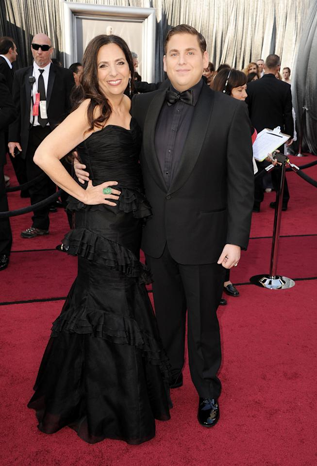 Jonah Hill and mom arrive at the 84th Annual Academy Awards in Hollywood, CA.