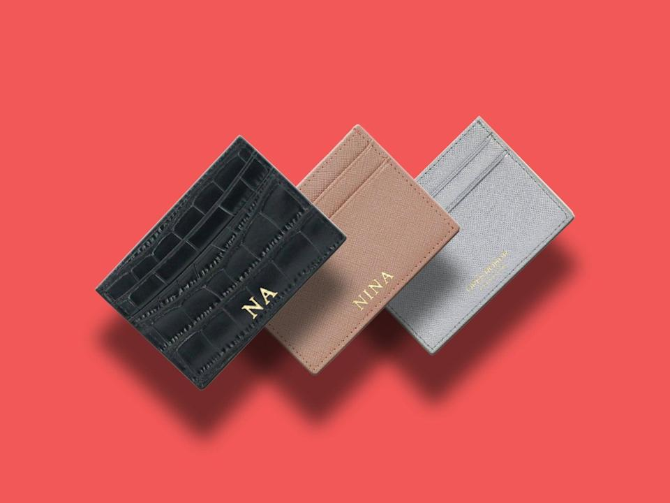 <p>This <span>Personalised Leather Card Holder</span> ($27 each) will come in handy.</p>