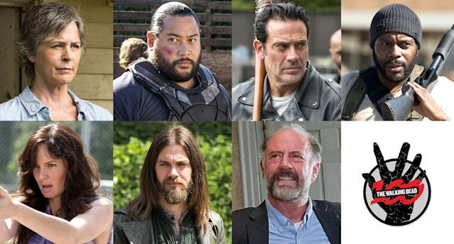 Melissa McBride as Carol, Cooper Andrews as Jerry, Jeffrey Dean Morgan as Negan, Chad Coleman as Tyreese, Sarah Wayne Callies as Lori, Tom Payne as Jesus, and Xander Berkeley as Gregory in 'The Walking Dead' <strong> </strong>(Photo: AMC)