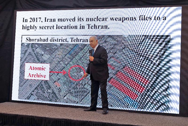"Israeli Prime Minister Benjamin Netanyahu claimed in 2018 that Iran had a ""secret atomic warehouse"" as part of a clandestine nuclear programme (AFP Photo/Jack GUEZ )"