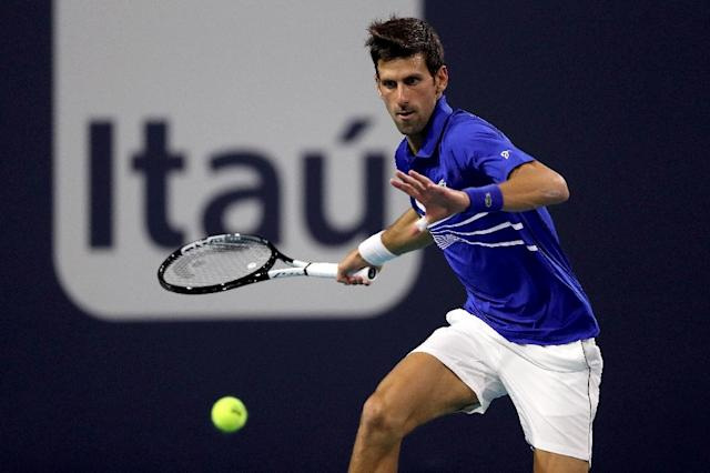 Novak Djokovic is hoping to eclipse Andre Agassi's six ATP crowns in South Florida over the next week (AFP Photo/MATTHEW STOCKMAN)