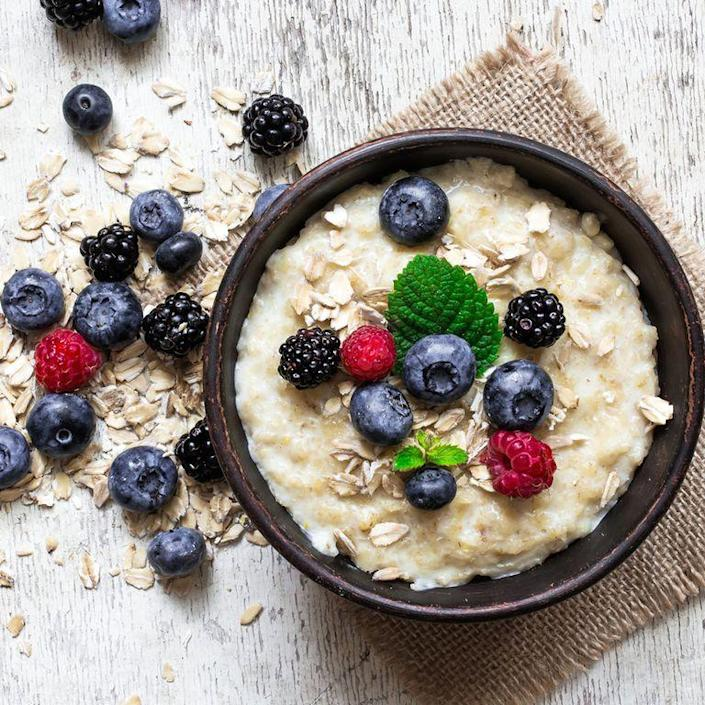 """<p>Flavored instant oatmeal (think: maple brown sugar or apple cinnamon) are often high in added sugar and sodium. """"Look for oatmeal varieties that list the first ingredient as 'oats,' contain less than six grams of sugar, and less than 140 milligrams of sodium per serving,"""" says Jacquelyn Costa, R.D., clinical dietitian at Temple University Hospital in Philadelphia. Or, choose steel-cut or rolled oats and flavor it using your own cinnamon, nutmeg, and fresh fruit.</p>"""