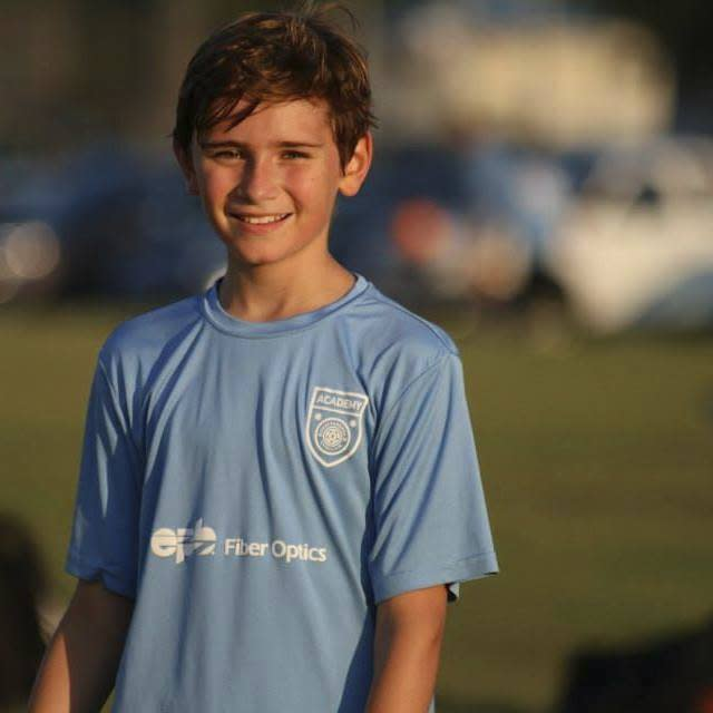 This undated photo provided by Mark McOmie shows Jackson Standefer.  The Grand Canyon National Park says a body that was found on Friday, April 28, 2017, is likely of Standefer, a 14-year-old hiker who went missing nearly two weeks ago while in the bottom of the canyon during a family trip. Jackson Standefer of Chattanooga, Tenn., was crossing a creek on April 15 when he and his step-grandmother, LouAnn Merrell, lost their footing and were swept away. (Mark McOmie via AP)