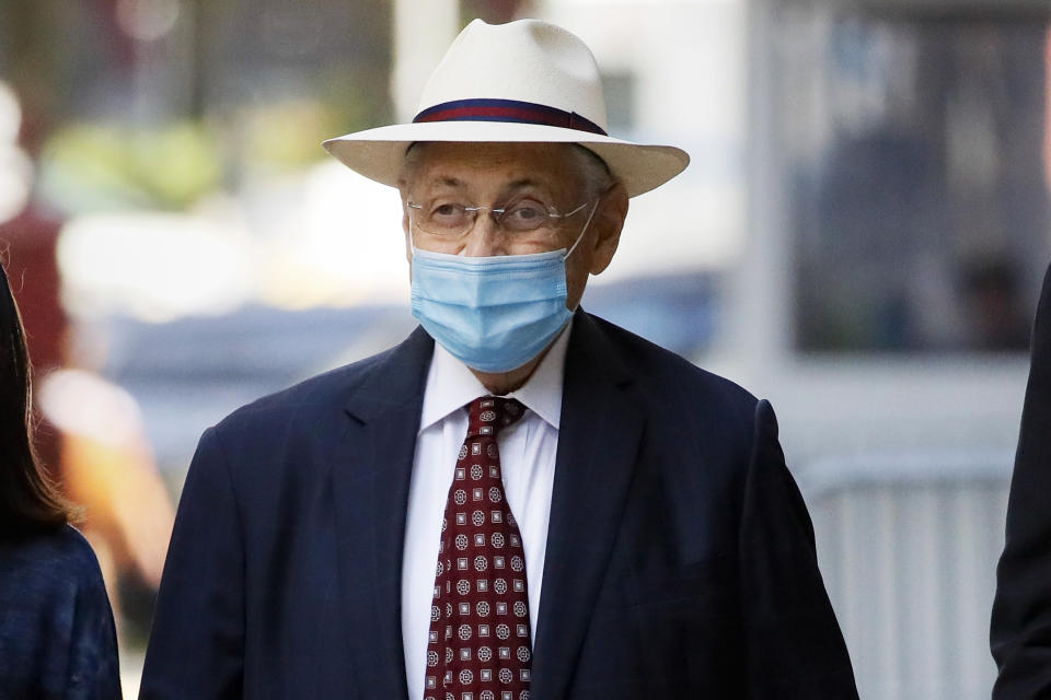 FILE — In this July 20, 2020 file photo, former New York Assembly Speaker Sheldon Silver leaves U.S. District Court after he was sentenced to 6 1/2 years in prison, in New York. Silver is being returned to federal prison after federal authorities denied him home confinement. (AP Photo/John Minchillo, File)