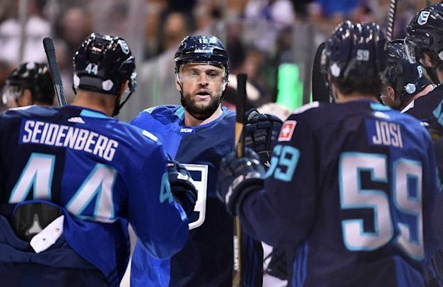 TORONTO, ON - SEPTEMBER 17: Marian Gaborik #12, celebrates with Dennis Seidenberg #44, and Roman Josi #59 of Team Europe after scoring a first period goal during the World Cup of Hockey 2016 at Air Canada Centre on September 17, 2016 in Toronto, Ontario, Canada. (Photo by Minas Panagiotakis/World Cup of Hockey via Getty Images)