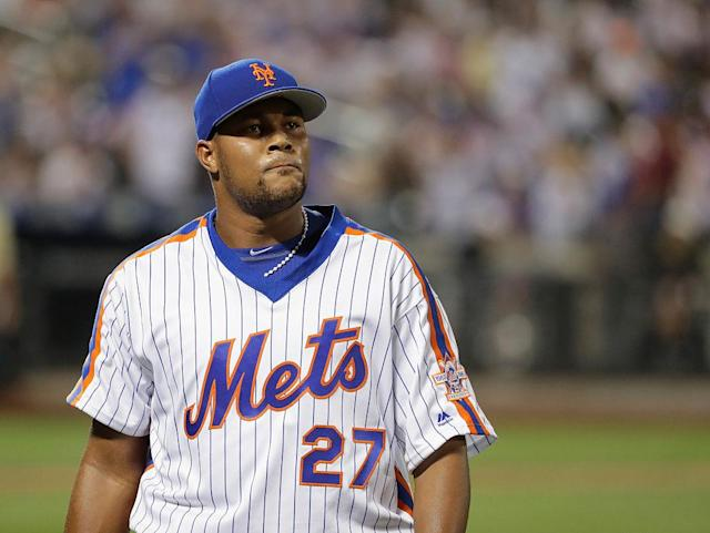 "<a class=""link rapid-noclick-resp"" href=""/mlb/players/9299/"" data-ylk=""slk:Jeurys Familia"">Jeurys Familia</a> of the <a class=""link rapid-noclick-resp"" href=""/mlb/teams/nym/"" data-ylk=""slk:New York Mets"">New York Mets</a> was arrested on domestic violence charges on Oct. 31. (Getty Images)"