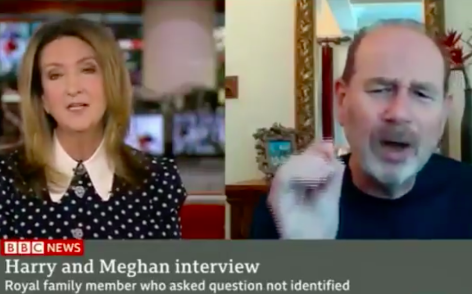 BBC's Victoria Derbyshire, left, and Society of Editors chief Ian Murray, right, clashed in a TV interview over headlines about Meghan Markle. (BBC)