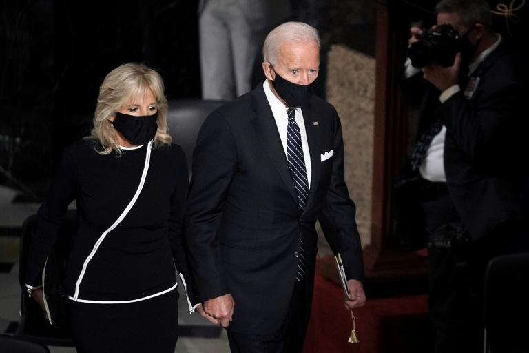 Democratic presidential candidate Joe Biden and his wife Jill Biden leave a ceremony to honor Supreme Court justice Ruth Bader Ginsburg as she lies in state on September 25 at the US Capitol in Washington