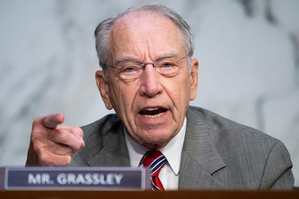 Sen. Chuck Grassley, R-Iowa, questions Supreme Court justice nominee Amy Coney Barrett on the second day of her Senate Judiciary Committee confirmation hearing in Hart Senate Office Building on October 13, 2020 in Washington