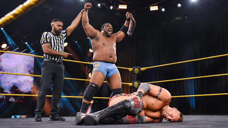 WWE star Keith Lee celebrates retaining his NXT North American Championship. (Photo courtesy of WWE)