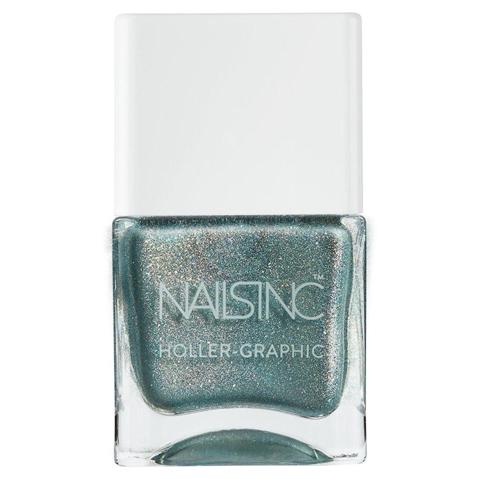 """<p>It's time for you to make your visions a reality. Green nail polish will give you the strength and drive to start creating the passion project that you've put on the back burner for a while. The sky's the limit with your verdant nails that'll inspire you to produce greatness.</p> <p><strong>To shop: </strong>$11; <a href=""""https://www.amazon.com/Nails-Inc-Holler-Graphic-Cosmic-Queen/dp/B07B4MHYHQ/ref=as_li_ss_tl?ie=UTF8&linkCode=ll1&tag=isbeuhaircolorsforlibraseasonlstardustsep20-20&linkId=983c788e95d128f10f7f4708e595b554"""" rel=""""nofollow noopener"""" target=""""_blank"""" data-ylk=""""slk:amazon.com"""" class=""""link rapid-noclick-resp"""">amazon.com</a></p>"""