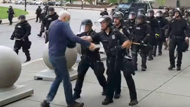 PHOTO: In this image from video provided by WBFO, a Buffalo police officer appears to shove a man who walked up to police Thursday, June 4, 2020, in Buffalo, N.Y. (Mike Desmond/WBFO via AP)