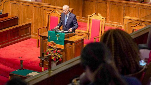 PHOTO: Democratic presidential candidate and former Vice President Joe Biden speaks at the '56th Memorial Observance of the Birmingham Church Bombing' at the 16th St Baptist Church in Birmingham, Alabama, Sept. 15, 2019. (Marvin Gentry/Reuters)