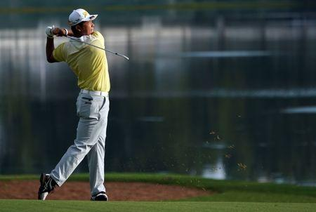 Aug 12, 2017; Charlotte, NC, USA; Hideki Matsuyama plays from the fairway on the 15th hole during the third round of the 2017 PGA Championship at Quail Hollow Club. Mandatory Credit: Kyle Terada-USA TODAY Sports