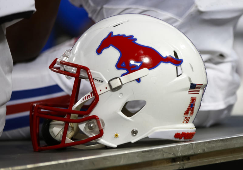 CINCINNATI, OH - OCTOBER 21: A Southern Methodist Mustangs helmet is seen on the sidelines during the game against the Cincinnati Bearcats at Nippert Stadium on October 21, 2017 in Cincinnati, Ohio. (Photo by Michael Hickey/Getty Images)