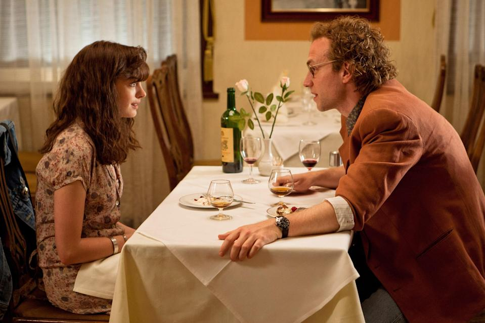 """<p>It's difficult not to get swept away by <em>One Day</em>, Anne Hathaway's 2011 movie about love, loss, and time—especially if you've ever had a friendship you always hoped would turn into something more like Emma and Dexter's. (It's based on a book of the same name by David Nicholls.) We track their relationship as they reunite on July 15 each year, and let's just say it's quite an emotional ride. The film almost demands your tears—weepy dialogue and melodramatic twists trick your brain into thinking it's sad. You're absolutely being manipulated, but you're also absolutely bawling, so does it really matter how you got there? Didn't think so. </p> <p><a href=""""https://www.netflix.com/title/70184051"""" rel=""""nofollow noopener"""" target=""""_blank"""" data-ylk=""""slk:Watch now on Netflix"""" class=""""link rapid-noclick-resp""""><em>Watch now on Netflix</em></a><em>.</em> </p>"""