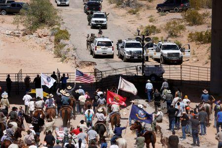 FILE PHOTO: Protesters gather at the Bureau of Land Management's base camp near Bunkerville Nevada