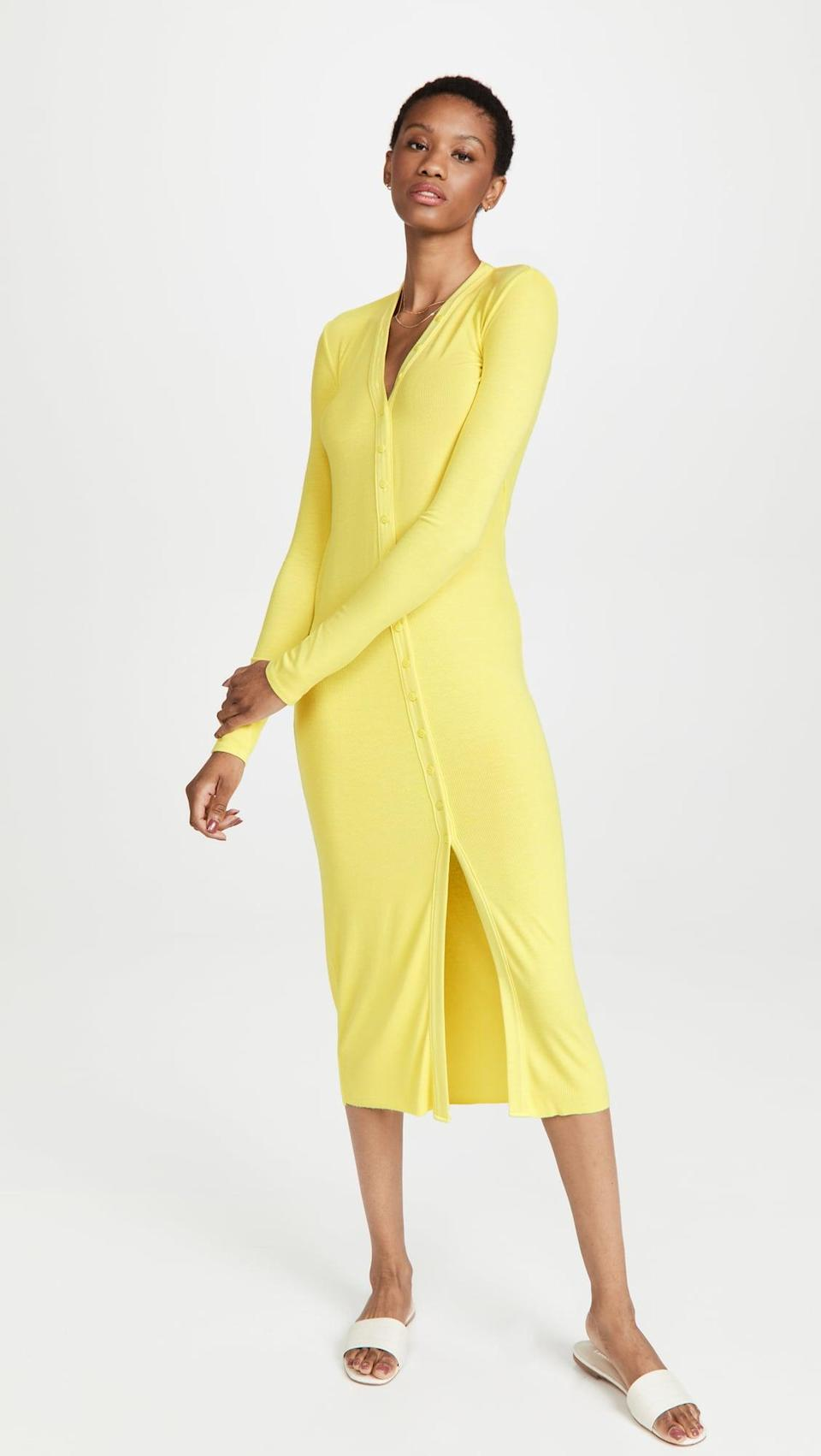 <p>Be bold and get the vibrant <span>Enza Costa Rib Cardigan Midi Dress</span> ($275) to brighten up your fall wardrobe. The soft and cozy material makes it one you'll never want to take off.</p>