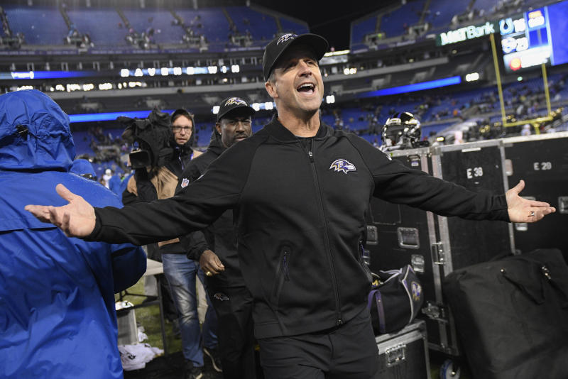 Baltimore Ravens head coach John Harbaugh has his team on the verge of another playoff berth. (AP)