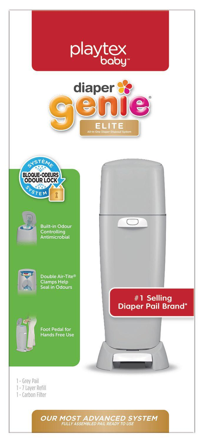 Playtex Baby Diaper Genie Elite Diaper Pail System with Front Tilt Pail for Easy Diaper Disposal