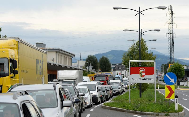 Germany set up border checks along its frontier with Austria a week ago to control the human tide and since the start of the week massive traffic jams have formed in Germany and Austria (AFP Photo/Christof Stache)