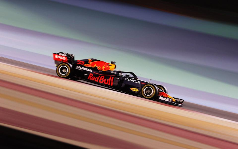 Max Verstappen of the Netherlands driving the (33) Red Bull Racing RB16B Honda on track during practice ahead of the F1 Grand Prix of Bahrain at Bahrain International Circuit on March 26, 2021 in Bahrain, Bahrain - Lars Baron/Getty Images Europe