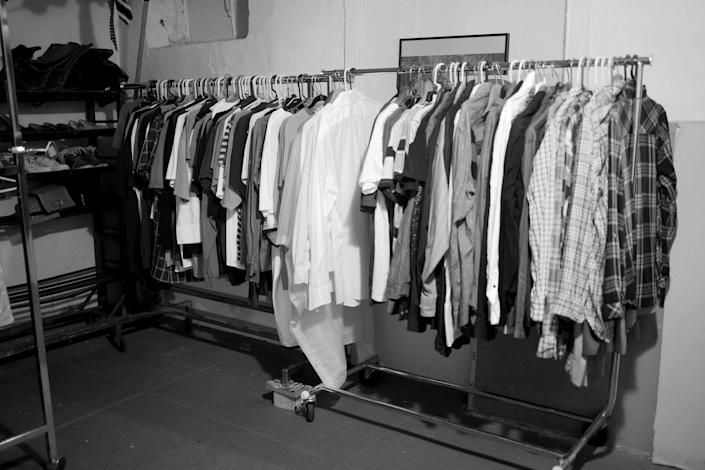 Image: Clothes at the RDJ Refugee Shelter thrift store. (Zac Hacmon)