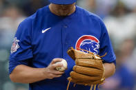 Chicago Cubs starting pitcher Alec Mills grips the baseball during the first inning of the team's baseball game against the New York Mets Tuesday, June 15, 2021, in New York. (AP Photo/Frank Franklin II)