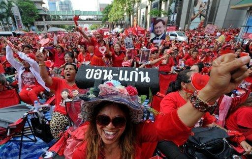 """Up to 50,000 """"Red Shirt"""" supporters from across Thailand converged on central Bangkok to mark the second anniversary of a deadly crackdown on street protests, city police say"""
