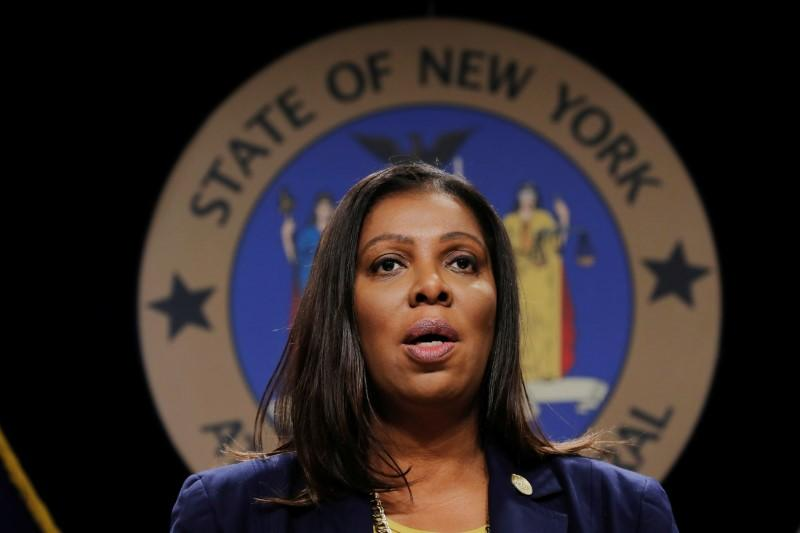 FILE PHOTO: New York State Attorney General, Letitia James, announces a lawsuit by the state of New York against e-cigarette maker Juul Labs Inc in New York City