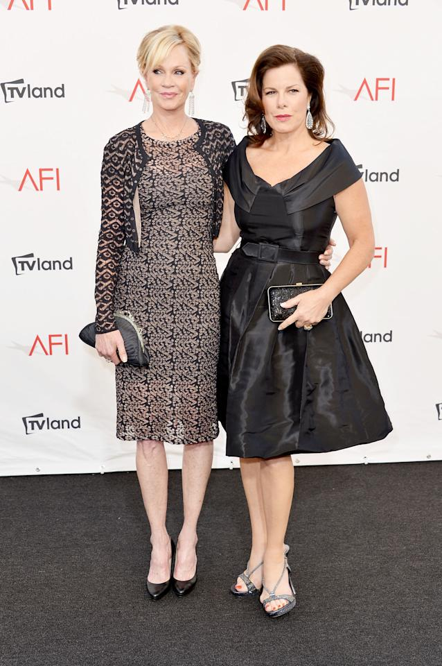 CULVER CITY, CA - JUNE 07:  Actors Melanie Griffith and Marcia Gay Harden arrive at the 40th AFI Life Achievement Award honoring Shirley MacLaine held at Sony Pictures Studios on June 7, 2012 in Culver City, California. The AFI Life Achievement Award tribute to Shirley MacLaine will premiere on TV Land on Saturday, June 24 at 9PM ET/PST.  (Photo by Alberto E. Rodriguez/Getty Images)