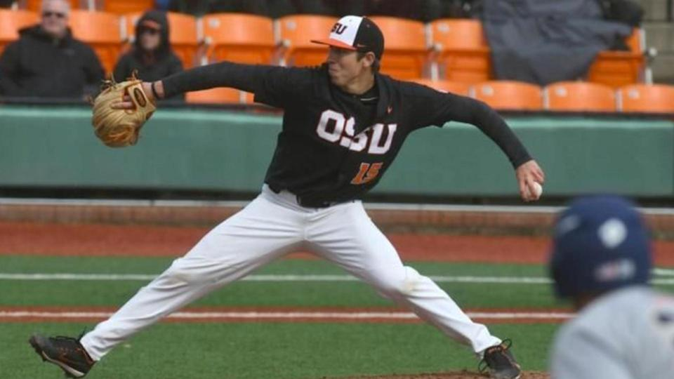 Oregon State's Luke Heimlich was the winning pitcher in Friday's season opener. It was his first appearances since being outed as a sex offender last season. (AP)