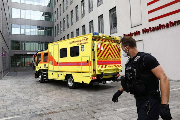PHOTO: Policemen guard the medical vehicle of the German Army which carried the Russian opposition politician Alexei Navalny, in front of the Charite Hospital on Aug. 22, 2020, in Berlin, Germany. (Michele Tantussi/Getty Images)