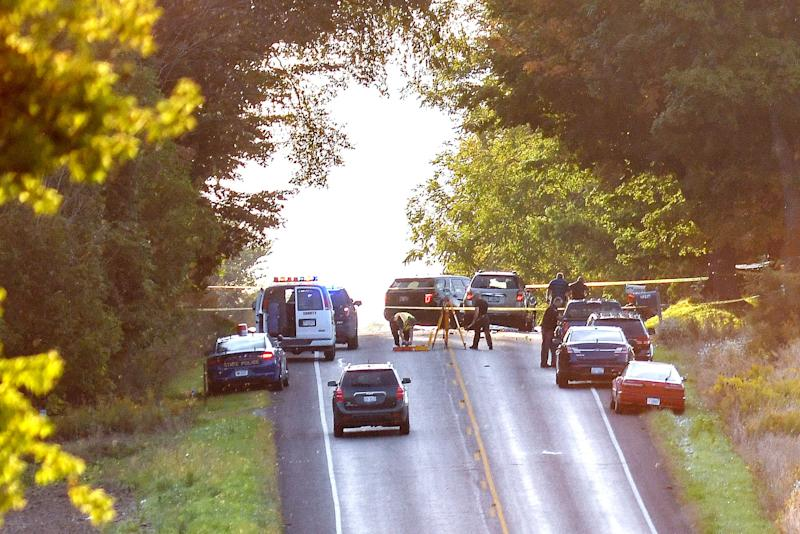 Police work the scene of an accident involving an Amish buggy on Wednesday, Sept. 18, 2019, in Eaton County.