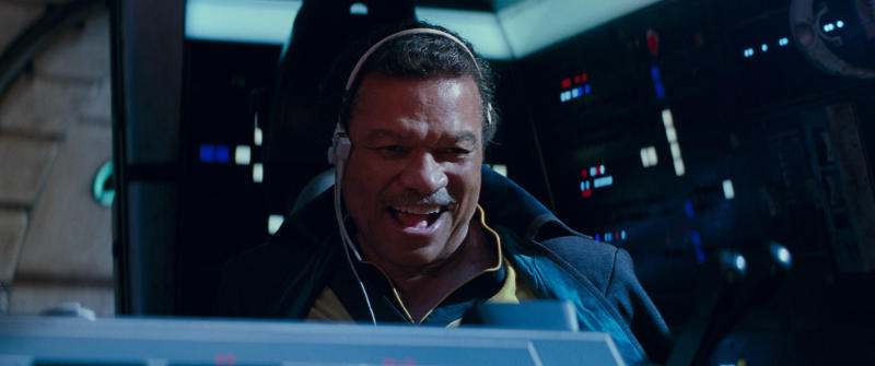 "This image released by Lucasfilm Ltd. shows Billy Dee Williams as Lando Calrissian in a scene from ""Star Wars: Episode IX."" (Lucasfilm Ltd. via AP)"