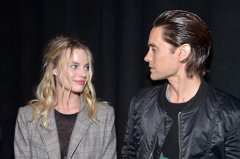 "LAS VEGAS, NV - APRIL 12: Actress Margot Robbie (L) and actor Jared Leto attend CinemaCon 2016 Warner Bros. Pictures Invites You to ""The Big Picture,"" an Exclusive Presentation Highlighting the Summer of 2016 and Beyond at The Colosseum at Caesars Palace during CinemaCon, the official convention of the National Association of Theatre Owners, on April 12, 2016 in Las Vegas, Nevada. (Photo by Alberto E. Rodriguez/Getty Images for CinemaCon)"
