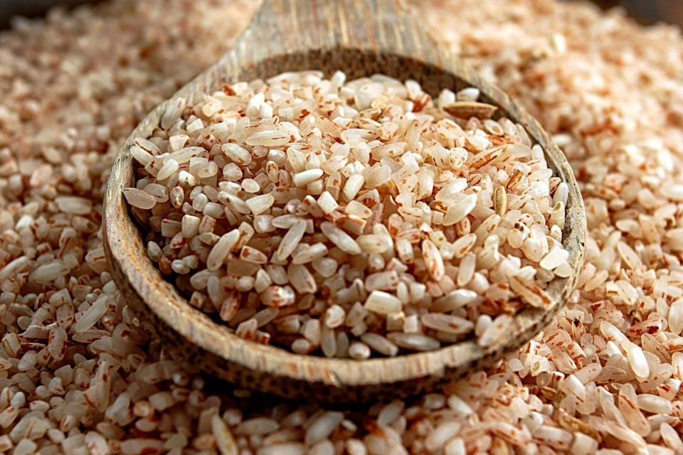 """<p>Think: brown rice, quinoa, oats, or barley. Though they're high in carbs, whole grains are also rich in fiber, which digests at a slower rate compared to low-fiber refined carbs (like white rice or white bread). </p><p>In turn, they'll have less of an impact on your blood sugar, explains <a href=""""https://www.lorizanini.com"""" rel=""""nofollow noopener"""" target=""""_blank"""" data-ylk=""""slk:Lori Zanini"""" class=""""link rapid-noclick-resp"""">Lori Zanini</a>, RD, CDE, author of <em>The Diabetes Cookbook and Meal Plan for the Newly Diagnosed</em>. </p><p>Keep an eye on your portions, though. """"When eating any whole grain, it's important to realize one serving [about 1/3 cooked cup] is equal to 15 grams of carbs,"""" Zanini says.</p>"""