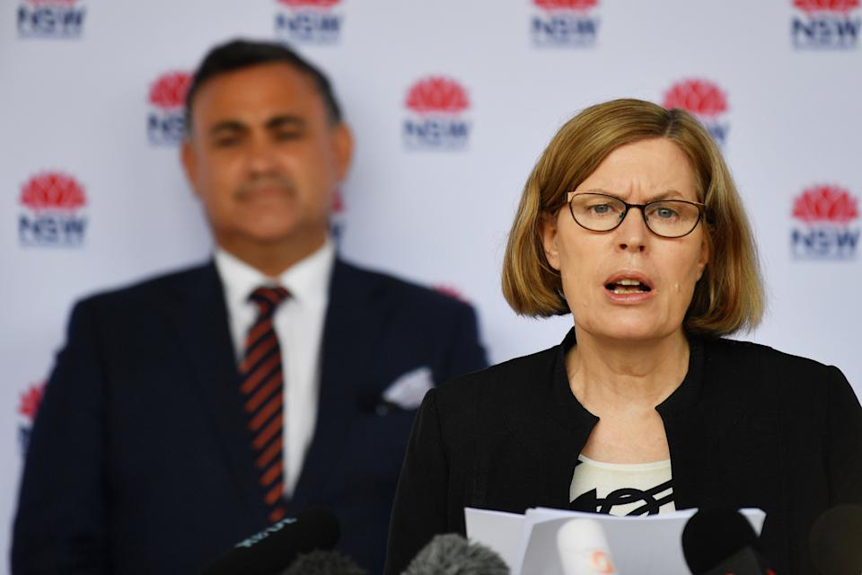 NSW Chief Medical Officer Dr Kerry Chant addresses the media in Sydney, Monday, January 4, 2021