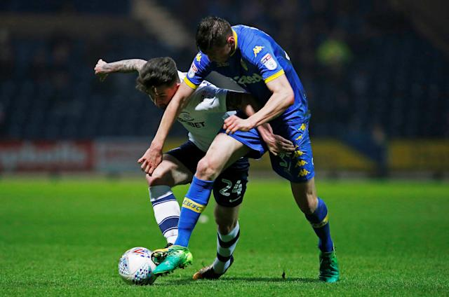 "Soccer Football - Championship - Preston North End vs Leeds United - Deepdale, Preston, Britain - April 10, 2018 Preston North End's Sean Maguire in action with Leeds United's Paudie O'Connor Action Images/Craig Brough EDITORIAL USE ONLY. No use with unauthorized audio, video, data, fixture lists, club/league logos or ""live"" services. Online in-match use limited to 75 images, no video emulation. No use in betting, games or single club/league/player publications. Please contact your account representative for further details."