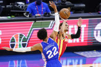 Atlanta Hawks' Trae Young, right, is fouled by Philadelphia 76ers' Matisse Thybulle during the second half of Game 5 in a second-round NBA basketball playoff series, Wednesday, June 16, 2021, in Philadelphia. (AP Photo/Matt Slocum)