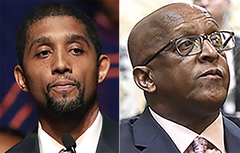 "This photo combo shows, from left, Baltimore Council President Brandon Scott and Baltimore Mayor Bernard ""Jack"" Young. Maryland residents are going to the polls and returning mail-in ballots for the state's primary, and the highest-profile race Tuesday, June 2, 2020, is the Democratic contest to be the nominee for Baltimore's mayor. (AP Photo, File)"