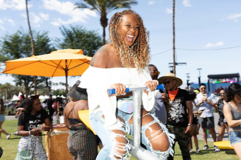 Street style at Weekend One of the 2019 Coachella Valley Music and Arts Festival in Indio, California, on Friday, April 12. Photo by Maggie Shannon for W magazine.