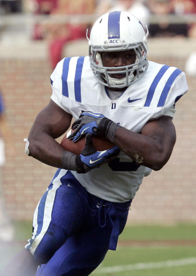 Duke's Jela Duncan runs for a touchdown against Florida State in the second quarter of an NCAA college football game on Saturday, Oct. 27, 2012, in Tallahassee, Fla. Florida State won the game 48-7. (AP Photo/Steve Cannon)