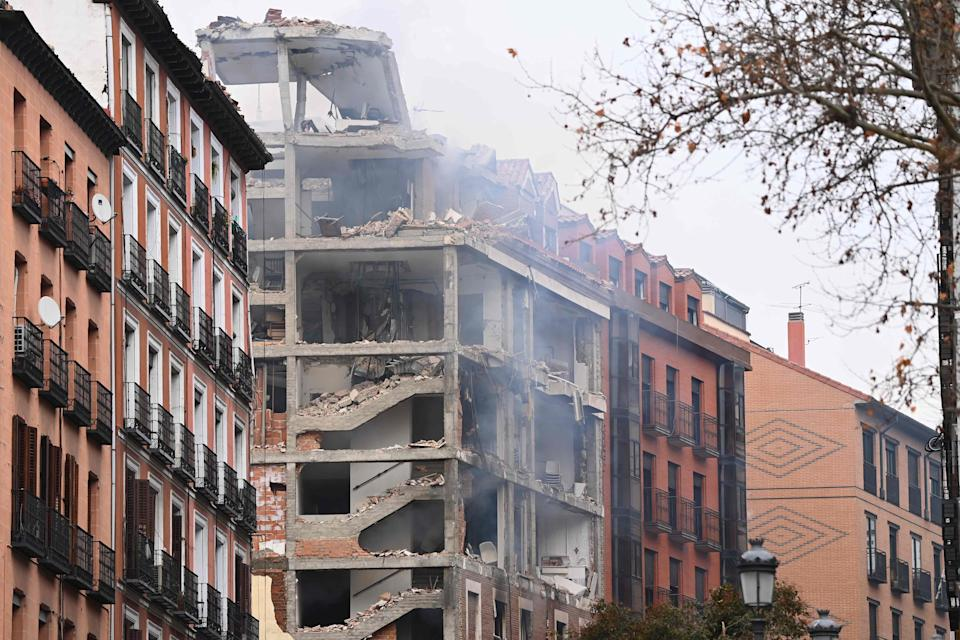 A damaged building is pictured in Madrid on January 20, 2021 after a strong explosion rocked the building (AFP via Getty Images)