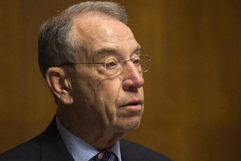 In this June 11, 2013, photo, Sen. Chuck Grassley, R-Iowa, ranking Republican on the Senate Judiciary Committee speaks on Capitol Hill in Washington. Grassley says the Internal Revenue Service is about to pay $70 million in employee bonuses despite an Obama administration directive to cancel discretionary bonuses because of automatic spending cuts. He says his office has learned that the IRS is executing an agreement with the employees' union on Wednesday, June 19, 2013, to pay the bonuses. (AP Photo/Jacquelyn Martin)